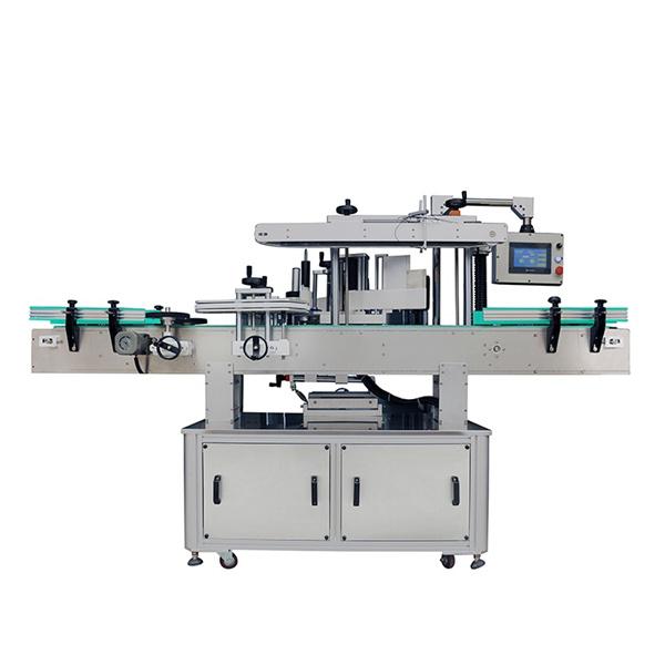 Máquina automática de rotulagem de adesivos de dois lados para xampus ovais e frascos planos
