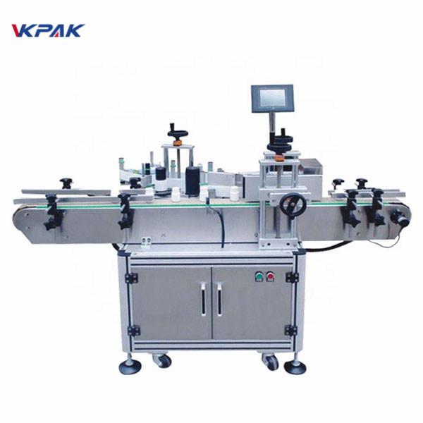 Máquina de rotulagem automática de adesivos para garrafas redondas autoadesivas e controle de plc