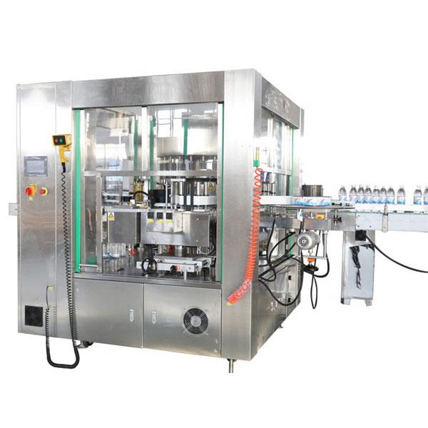 Máquina de rotulagem automática de adesivos com localização de três faces e sistema rotativo
