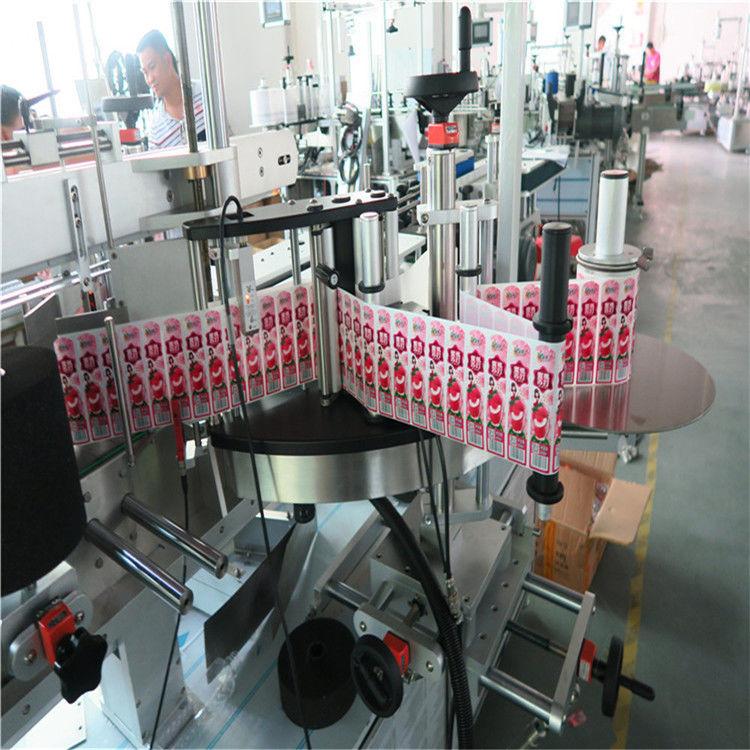 Aplicador de etiqueta de adesivo para frente, verso e embalagem em torno do frasco de etiqueta